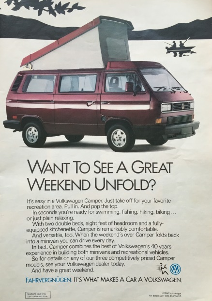VW-Vanagon-advertentie in de Amerikaanse RandMcNally wegenatlas van 1992