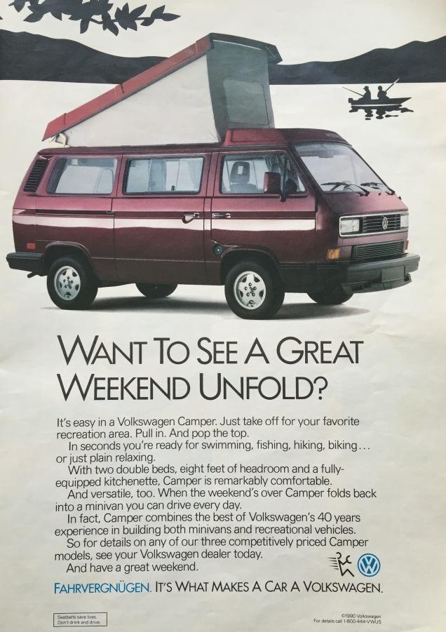 VW-Vanagon-advertentie in de Amerikaanse RandMcNally wegenatlas van 1992